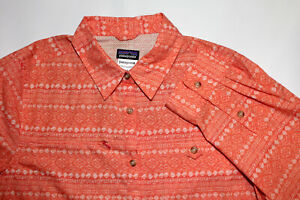 Women's Large Patagonia peach aztec long sleeve button up cotton outdoors shirt