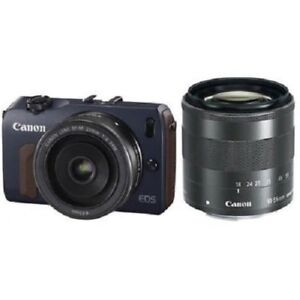 USED Canon EOS M with 18-55mm IS and 22mm STM Blue Excellent FREE SHIPPING