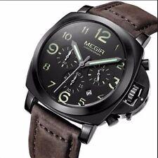 Montre Pour Homme MEGIR Model De Luxe Chronographe Date Bracelet En Cuire Quartz