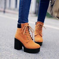 New WomenS Chunky High Heels Platform Lace Up Punk Motorcycle Chic Ankle Boot SZ