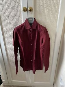 "Men's Richard James Linen Cotton Blend 15.5"" Collar Shirt Size 39"
