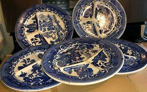 """VNTG Japanese Hand painted Blue Willow Dinner 10"""" Thick Heavy Divided Plates"""