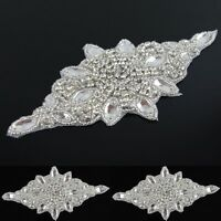 Silver Clear Crystal Rhinestone Appliques Trims Sew Iron on Bridal Dress Sash