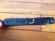 Vintage Genuine Alligator Leather Black Belt w Solid Brass Buckle USA Made 34