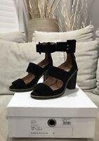 Gorgeous JO MERCER Black Suede Leather Heels Pumps 36.5 EU 6 US Like New