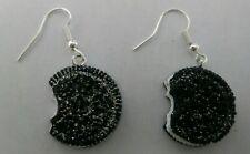 Glitter Silver Hooks Dangle Cute Usa Bitten Cookie Design Earrings 3D With