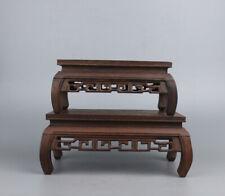 stand display China brown hard wood 1 set 3Pc Miniature table rectangle base