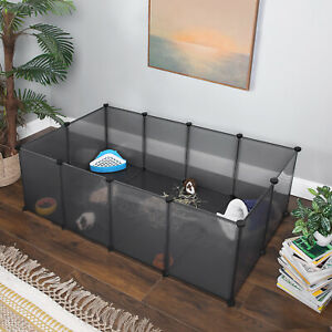 Pet Exercise Play Pen with Bottom, DIY Enclosure Fence Cage for Small Animals