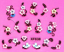 Nail Art 3D Decal Stickers Flowers & Hearts with Rhinestones XF638