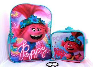 Trolls World Tour Poppy Girl School Backpack BookBAG Lunch Box SET Kids Gift Toy