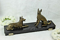 ART DECO 1930 Metal bronze patina dogs statue on marble base