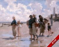 WOMEN ON BEACH OYSTER FISHING IN FRANCE OIL PAINTING ART PRINT ON REAL CANVAS