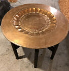 """Antique Middle Eastern Islamic Hammered Copper Ornate Table Wood Base 30"""" Tray"""
