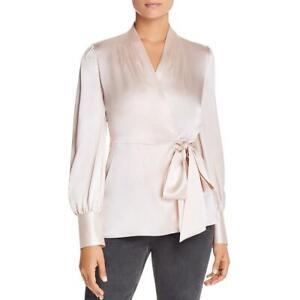 Elie Tahari Womens Shay Silk Puff Sleeve Blouse Wrap Top Shirt BHFO 1142