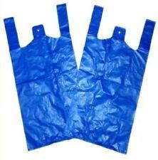 "100 x Strong Blue Plastic Vest Carrier Bags Large 11x17x21"" - 18Mu *FREE P&P!*"