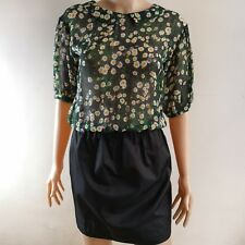 C129 - NB Dress with Floral Top and Black Skirt Bottom