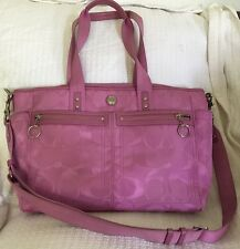 COACH Pink Violet DAISY Signature Jacquard Baby Diaper Bag XL Tote Purse-14874