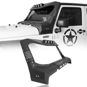 Windshield Frame Cover Visor Cowl Armor w/ LED Light Fit Jeep Wrangler JK 07-18