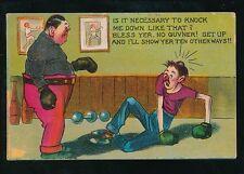 Sport BOXING Comic knock downUsed 1912 PPC