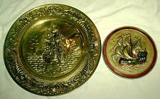 """2 Vintage Pressed Metal Plates with Ships Made in England 14"""" & 8"""" Hand colored"""
