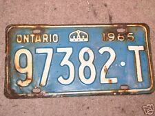 1965 Ontario License Plate Single YOM Year of Manufacture 97382-T USED