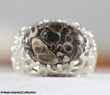 TURTELLA JASPER & 925 Sterling Silver RING Size ~8.75