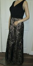 SL Fashions Ignite Evenings gown dress sz 8 M black gold lame floral skirt NWT