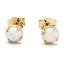14K Yellow Gold 4mm Round Cabochon Opal Stud Earrings