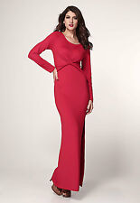 Red Starlet Winter Maxi Dress Long Sleeve Twist Detail Slit Christmas 6180