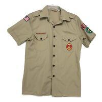 Boy Scouts BSA of America Vtg Official Uniform Shirt Mens M Khaki Tan w/ Patches