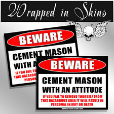 CEMENT MASON Funny Warning Beware Sticker OEM Decal Funny Sticker 2 Pack
