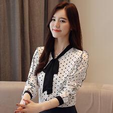 Women Bow Tie Front Dot Print Ruffle Long Sleeve Sheer Chiffon Blouse Shirt Tops