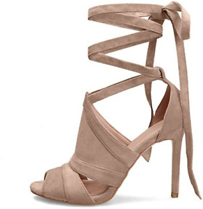 Womens Peep Toe Stiletto Lace Up Sandal Strappy High Heels Party Nightclub Shoes