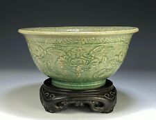 Superb Large Antique Relief Carved Chinese Celadon Porcelain Bowl - Ming Dynasty