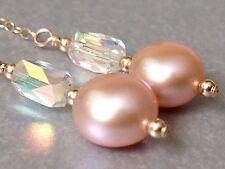 Botón De Durazno FW Perlas & Vintage pastilla para chupar cristales AB pendientes en oro de 14 CT
