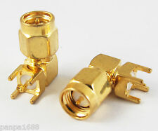 10pcs Gold 50 Ohm SMA Male Right Angle R/A PCB Receptacle Solder RF Connector