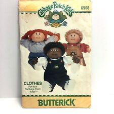 Uncut Cabbage Patch Kids Butterick Pattern 6508 Clothes Overalls Shirt Vintage