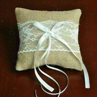 Retro Rustic Wedding Party Lace Burlap Jute Ring Bearer Pillow V2X7 Cushion R0I8