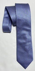 "CHARLES TYRWHITT BLUE TIE 100% SILK HOUNDSTOOTH 58""/3.5"" EXCELLENT CONDITION"