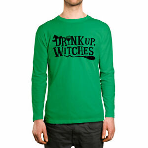 Drink Up Witches Funny Halloween October Alcohol  Long Sleeve Men's Shirt