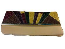 Ladies ATMOSPHERE Multicoloured Crocodile Pattern Evening Clutch Purse, Bag 3924