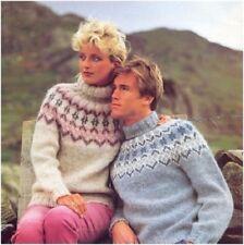 His& Her Chunky Nordic Fairisle Yoke Sweater, Leg Warmers Knitting Pattern 10021
