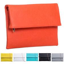 Ladies Leather Style Fold Over Clutch Bag Large Evening Bag Flat Handbag K402