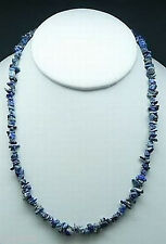 "NATURAL LAPIS LAZULI CRYSTAL CHIP NECKLACE BEAD 18"" Healing Reiki Strength Blue"