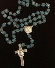 Holy Face of Jesus Aqua Blue & Purple Murano(10 mm) Bead Rosary- Veronica's Veil