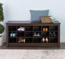 Storage Organizer Shoe Cubbie Bench Espresso Shelf Cabinet 18 Pair Home Space
