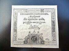 assignat de 15 sols  janvier 1792  série 634