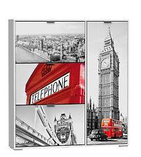 Zapatero blanco 3 puertas abatibles y compartimento de estantes London 120x129cm