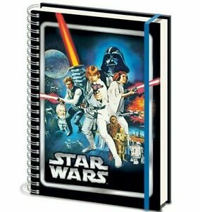 STAR WARS A NEW HOPE SPIRAL BOUND A4 LINED NOTEBOOK ELASTIC CLOSURE NEW