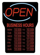 """Royal Sovereign Led Open With Business Hours Sign English - """"open"""" , """"business"""